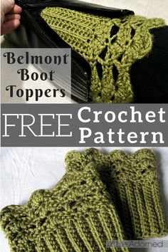 Belmont Boot Toppers pattern by Jenn Wolfe Kaiser Crochet Boot Socks, Crochet Boot Cuff Pattern, Crochet Leg Warmers, Crochet Slippers, Crochet Patterns, Crochet Ideas, Knit Hats, Hat Patterns, Quick Crochet