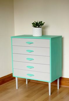 Vintage Retro Mid Century Hand Painted Teal by BerryChicInteriors