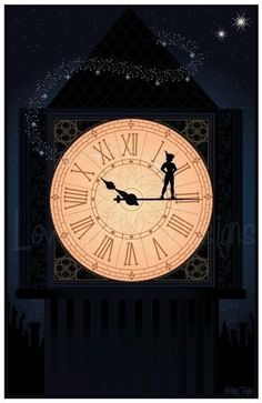 Peter Pan: A clock mural on the wall