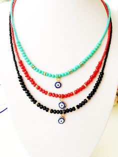 Evil eye necklace, miyuki necklace, seed beads necklace, evil eye charm necklace, blue evil eye, greek evil eye jewelry, miyuki bead jewelry