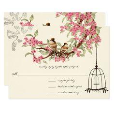 Pink Cherry Blossoms Teal Birds Birdcage RSVP 9 Cm X 13 Cm Invitation Card