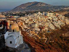 Catholic church in Fira, the modern capital of the Greek Aegean island, Santorini.