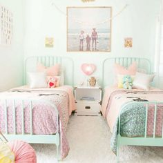Mint, hint of pink, and vintage inspired look for a little big girl room makeover.