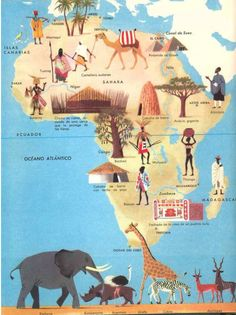 Herbert Pothorn - Vintage map of Africa Geography For Kids, Les Continents, Out Of Africa, Thinking Day, Travel Illustration, Vintage Travel Posters, Retro Posters, African American History, Africa Travel