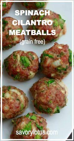 Spinach Cilantro Meatballs (grain free) |  savorylotus.com