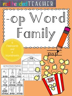 This packet is 5 pages for the -op Word Family;*Flashcards for students to take home, color, and practice reading*Beginning sounds*Alphabetical Order*Word Family Identification (cut and paste)*Word Family Identification (coloring)
