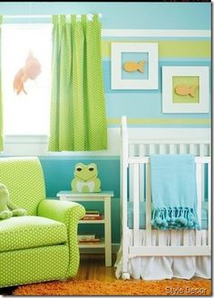 Green, Aqua, and Orange nursery. Fun and bright!