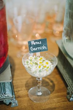 Garden party cocktail garnish ideas