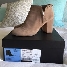 Chanel booties Dark beige suede in great condition! Purchased earlier last year. Super comfy and sprayed with a water resistant coating. Box included :) CHANEL Shoes Ankle Boots & Booties