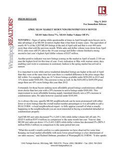 """April MLS® Market Rebounds From Previous Month"" by: Winnipeg Realtors® http://v2.estatevue.com/platform/kelowna/freisguys/blog.html"