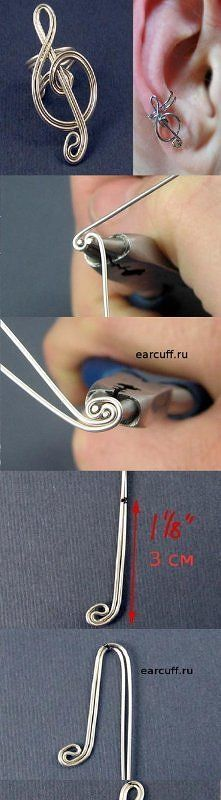 DIY G Cleff Ear Cuff - photo tutorial - well guess my sister's getting a surprise tomorrow!