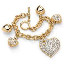 Palm Beach Jewelry PalmBeach Crystal Multi-Heart Charm Bracelet in Yellow Gold Tone Bold Fashion (Goldtone Metal Crystal Multi-Heart Charm Bracelet), Women's, Size: 8 Inch Yellow Jewelry, Gold Jewelry, Jewelery, Wedding Jewelry, Jewelry Box, Jewelry Watches, Jewelry Accessories, Women Jewelry, Heart Jewelry
