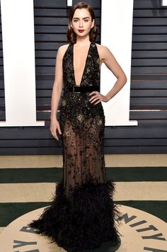 102 Awesome Oscars Weekend Outfits You Didn't See - but Can't Miss - Lily Collins in Elie Saab
