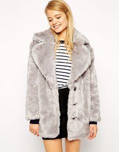 Grey faux fur oversized coat - ASOS coat - vintage style