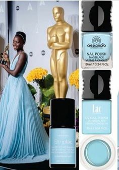 Best Supporting Actress Winner Lupita Nyong'o's stunning baby blue Oscars dress is a perfect match for 'Peppermint Patty