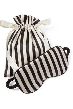 OLIVIA VON HALLE Nika reversible striped silk-satin sleep mask