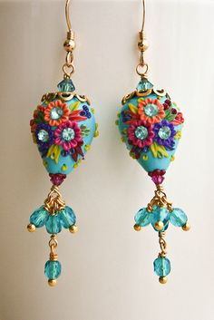 Bridesmaids Mexican Embroidery Teardrop Earrings