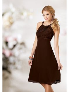 Chiffon Halter Empire Waist Ruched Short Bridesmaid Dress