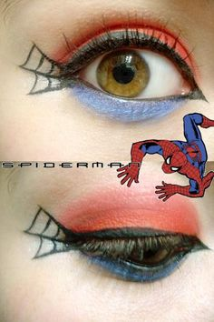 Spider-Man makeup idea. One of the easier ones... maybe.