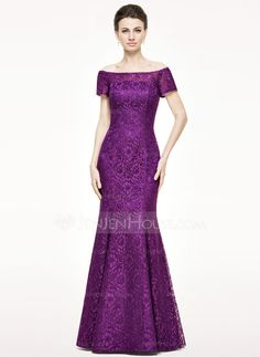 Trumpet/Mermaid Off-the-Shoulder Floor-Length Zipper Up Regular Straps Sleeveless No 2015 Grape Spring Summer Fall Winter General Plus Lace Mother of the Bride Dress Lace Wedding Dress, New Wedding Dresses, Lace Dress, Prom Dresses, Bridesmaid Dresses, Summer Dresses, Formal Dresses, Wedding Shoes, Formal Wear