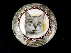 Cat Picture Trinket Box Newhall Staffordshire England Bone China