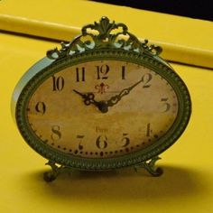 Antiqued Aqua Table Clock