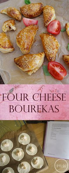 Four Cheese Bourekas are little parcels of puff pastry filled with a delicious four cheese filling, a perfect snack.