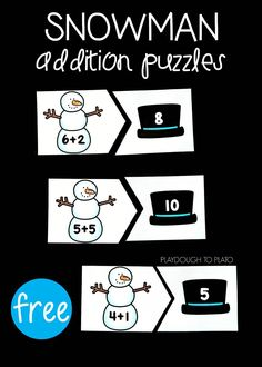 FreeSnowman Addition Puzzles! A fun way to work on addition with kindergarten and first grade students this winter! #freemathprintables #snowman #teachingmath #wintermathcenters #PlaydoughToPlato