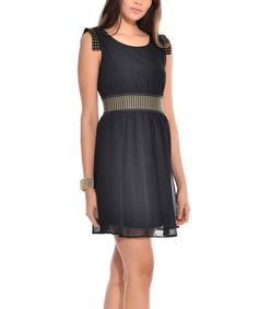 Black & Bronze Studded Skater Dress
