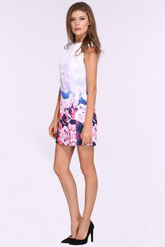 White Sleeveless Floral Print Dress