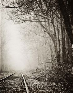 Railroad Tracks Fog Landscape Photography by ShadetreePhotography