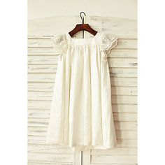 Flower+Girl+Dress+Sheath+/+Column+Knee-length+-+Stretch+Satin+Short+Sleeve+Square+with+–+USD+$+49.99