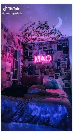 Neon Bedroom, Cute Bedroom Decor, Cute Bedroom Ideas, Room Ideas Bedroom, Teen Room Decor, Bedroom Bed, Bedroom Inspo, Indie Room Decor, Hippie Bedroom Decor