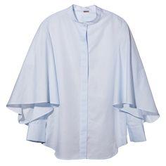 Adam Lippes Flounce Sleeve Shirt in Light Blue