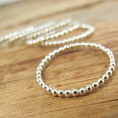 Beaded Stack Ring, Sterling Silver Super Shiny Beaded Stack Ring - Stacking, Rings, Jewelry