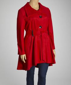 Take a look at this Red Belted Trench Coat - Plus by Yoki on #zulily today!