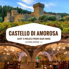 🌟 The stunning Castello di Amorosa Winery is just 3 miles from our inns! Book your tour and wine tasting with us and get $5 off plus a free shuttle ride there. 🌟 Learn more on our website. (Photo Credit: Castello di Amorosa, Jim Sullivan)