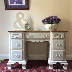A pretty vintage desk p chalk paint pale grey Lilyfield Life