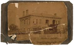 Jesse Riddlesbarger's home on Pearl Hill in Kansas City (SE corner of 2nd & Walnut) Built in 1858 at a cost of $3,250. Riddlesbarger and his wife Susan lived in the mansion until October 1863, when Gen. Thos. Ewing banished him from Jackson and surrounding counties. Top, first state photo ca. 1865 from a family album;