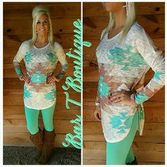 Mocha/Mint Tribal Tunic ~ Follow @bar_t_boutique on Instagram to Shop Weekly New Arrivals