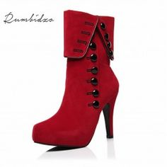 eee94ae7e52f Rumbidzo Fashion Women Boots 2018 High Heels Ankle Boots Platform Brand Women  Shoes Autumn Winter Snow