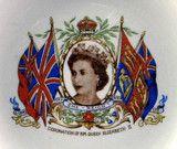 Queen Elizabeth II Coronation Sepia Photo Dish Plate 1953 Meakin England