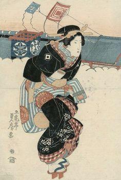 Woman walking past a theatre. Ukiyo-e woodblock print, quarter century, Japan, by artist Utagawa Sadafusa. Japanese Artwork, Japanese Painting, Japanese Prints, Chinese Painting, Art Occidental, Geisha Art, True Art, Japan Art, Geishas