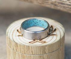 Handmade turquoise lined wedding band.