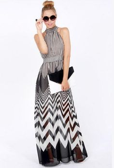 Unique Wave Perspective Halter Polyester Long Women's Dress Party Dress