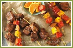 Citrus-marinated beef and fruit kabobs - YUMMY SUMMER food!