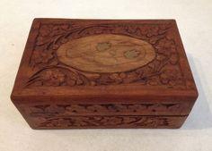 Carved Wood Flower Leaf Inlay Trinket Jewelry Box Keepsake Hinged Lid Lined #TrinketBox