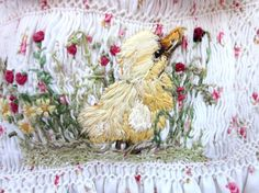 Hand Smocked Hand Embroidered Baby Dress, Size 1/Said the Duckling to the Ladybug