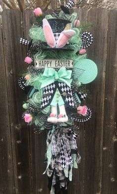 MadHatter Easter Swag Easter Bunny Swag Dapper Bunny Swag | Etsy Happy Easter, Easter Bunny, Candy Wreath, Fall Swags, Seasonal Decor, Holiday Decor, White Rabbits, Holiday Wreaths, Pink Roses
