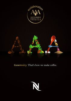 """Morning! :) """"Ecolaboration AAA - That's how we make coffee. Generosity."""" Nespresso #Advertising"""